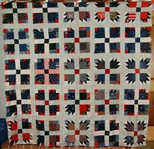 OUTSTANDING Vintage 1890's Bear Paw Antique Quilt Top ~VIBRANT EARLY FABRICS!