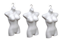 Lot 3x Busty Ladies Torso Mannequin Woman Female Hanging Body Form White