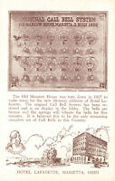 Vintage Hotel Lafayette Call Bell System Marietta Ohio Browntone Postcard New