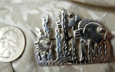 Silver Fish N Sea Pin 1-3/4� Vintage Exquisite Very Detailed Mexican Signed