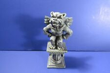 Bulldog Gargoyle Figurine - Painted Cast Resin Statuette