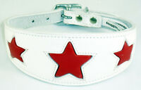 Leather Star Shape Saluki, Afghan Dog Collar White With Red Star 4 Sizes