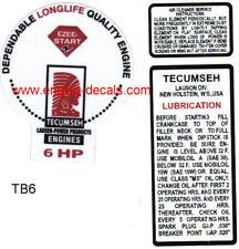 Tecumseh 6-hp decal H60 Troy Bilt Balloon TB60