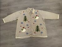 Women's Ugly Christmas Holiday Sweater Green 3X Snowman Tree & Snowflakes