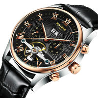 Luxury Men's Automatic Mechanical Wristwatch Hollow Genuine Leather Watch