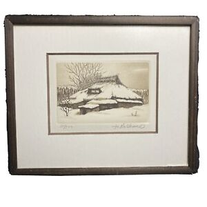 Hiroto Norikane Signed, Numbered and Framed Etching 7.5 x 9 inches 381/507
