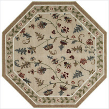 5' Octagon Kitchen Tan Beige Flower Patch JCPenney Floral Area Rug Washable Cute