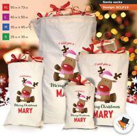 Personalised Reindeer Christmas Santa Sack Gift Pink Girl Boy Stocking