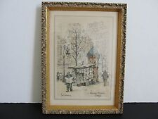 Boulevard St. Denis, Paris by Jan Korthals-1960s Colored Collotype Litho Framed.