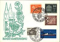 1957 Sonderstempel Köln Deutz Bundesgartenschau mit guter Misch-Frankatur
