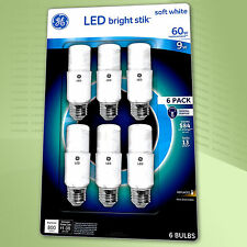GE LED Bright Stik 9 Watt (60W Replacement) 800 Lumens Soft white  6 Bulbs 120V.