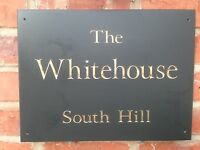 """NUMBER 12/"""" X 4/"""" FAST DELIVERY! PRESTIGE QUALITY SLATE HOUSE SIGN ANY NAME"""