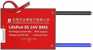 LiFePO4 BMS PCB 8S 24V 40A Daly Balanced Waterproof Battery Management System UK