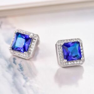 Classic Design 18K White gold Sapphire Blue and White Crystal Earrings 277