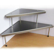 Tavolinetto angolare tavolino 2 ripiani cucina casa salotto Acciaio moderno