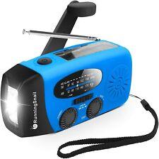Emergency Hand Crank Self Powered AM/FM NOAA Solar Weather Radio-Blue