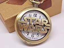 Bronze Star Wars Half Hunter Quartz Pocket Watch & Neck Chain Gift Boxed!