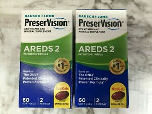 Bausch + Lomb Preservision Areds 2 Eye Vitamins 60 + 60 = 120  JULY 2021   #7603