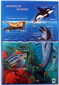 2002 MNH FRANCE MARINE ANIMALS STAMPS SHEET ORCA SEA TURTLE DOLPHIN WHALE SEAL