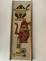 Vintage Mid Century Modern Mosaic Gravel Art Wall Hanging Coffee Pot