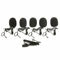 Movo MCW5 5X Universal Foam Windscreen & 5X Tie Clip for ALL Lavalier Microphone