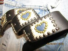 Ladies Leather Belt, Handmade, Blue & White Leather Heart Inlays, Studs 30-32