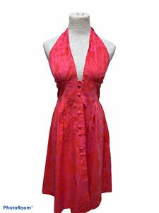 Ruth Clarage Dress Sz 14  Vitg Halter Pink Hawaiian Tropical Needs Button