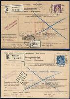 SCHWEIZ 1921/1922, MiNr. 106 und 170, je als Einzelfrankatur auf Einzugsmandat