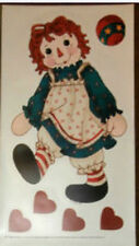 "RAGGEDY ANN doll wall stickers  6 decals nursery decor hearts toy ball 14"" tall"
