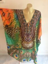 Resort Wear 100% Silk Crepe Embellished Kaftan FREESIZE NEW