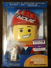 New Blu Ray/ DVD The Lego Movie Everything Is Awesome Edition w/Vitruvius Figure