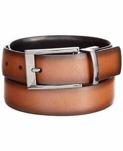 $115 Alfani Men Brown Black Faux Leather Reversible Buckle Dress Belt US Size 38