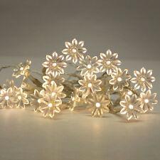 20 Battery Operated Warm White Flower LED Flowers Fairy String Lights  Lamp Set