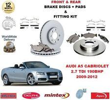 Cabina Para AUDI A5 2.7 TDI 2009-2012 Delantero + Trasero Discos De Freno Almohadillas con kit de montaje