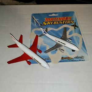 Vtg Lesney Matchbox 2 Skybusters 1973 A300B Airbus France & DC10 Swiss air plane