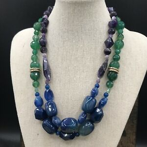Barse Violaceous Two Strand Necklace- Mixed Stones- Bronze- NWT