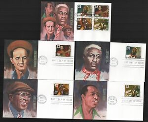 #3212-5 32c Folk Musicians Set of 5 FDC's with Fleetwood Cachets UA G4377