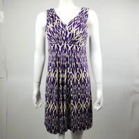 ANN TAYLOR LOFT Purple Tan White Sleeveless Dress Womens Size S Small