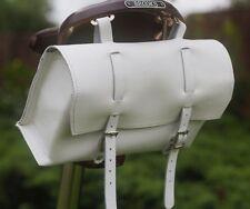 Bici Bicicleta Bolso Grande De Cuero Natural Caja de asiento de silla de montar Manillar Blanco Bicicleta