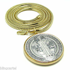 "Medalla De San Benito Saint St Benedict 36"" Gold Plated Medal Snake Box Chain"
