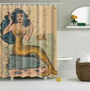 Shower Curtain Retro Golden Mermaid Design Bathroom Waterproof Fabric 72 inch