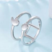 Minimalist Female Male Geometric Semicolon Ring 925 Silver Fashion Women Jewelry