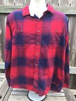 Roebuck & Co Blue and Red Plaid Western Long Sleeve Flannel Shirt Men's XL