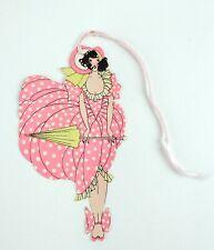 Vintage Die Cut Art Deco Girl Pink Umbrella Bridge Tally Card