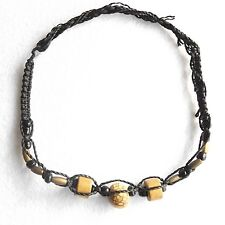 ANKLET BRAZILIAN CEREBRO BRAIN SEED GOLD BEADS HANDMADE UNIVERSAL SIZE FITS ALL.