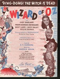 Ding Dong The Witch is Dead 1939 The Wizard of Oz Judy Garland Sheet Music