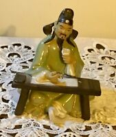 """Vintage Chinese Mudman Figurine of Seated Man By SHIWAN 4.5"""" tall f/after 1919"""