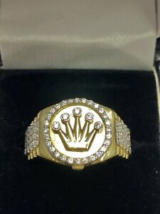 9ct Hallmarked Yellow Gold Mens Rolex Style Cz Crown Ring UK Size T