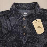 Tommy Bahama Long Sleeve Hawaiian Polo Shirt Mens Size Medium Floral Coal Gray