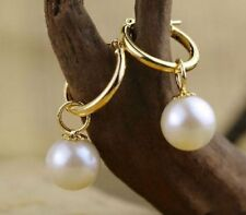 AAA + 10mm perfect round white Australia shell pearl dangle earring 14KGP